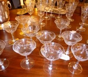 Coupes et Verres Cristal, 180 € série de 11