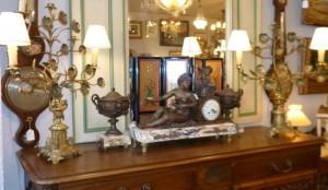 Garniture 3 pièces, régule et marbre, 580 €