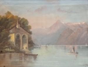 huile sur toile, Lac Léman, 450 €