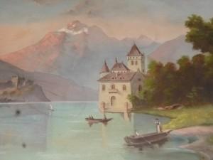 Huile sur toile, Château de Chillon, Suisse, Lac Léman, 450 €