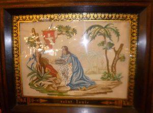 Cadre XIXè sous verre, Point de Croix, Saint Louis, 250€