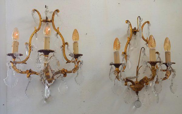 Série de 4 Appliques à Pampilles, style Louis XV