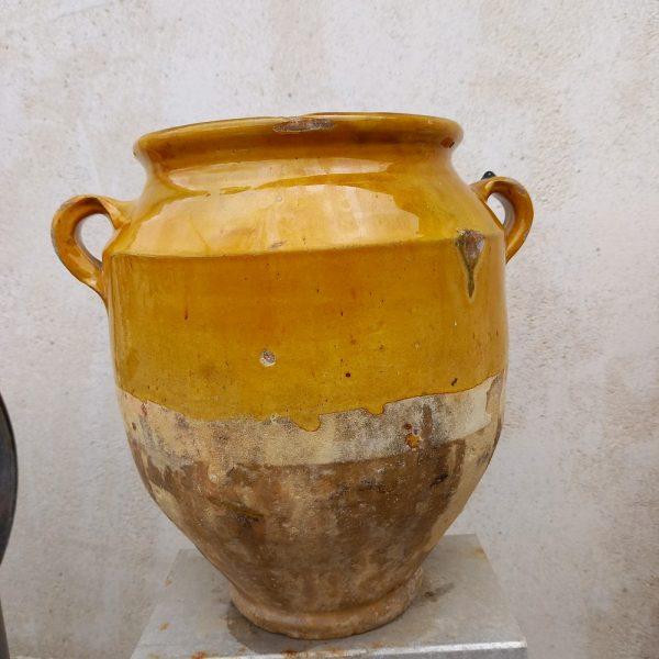 Pot à graisse ancien vernissé jaune