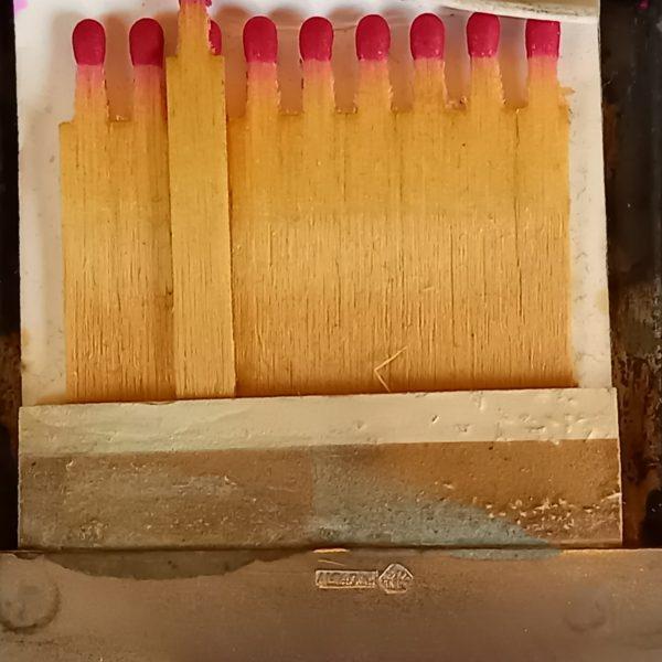 Boite - Etui à allumettes, Art-Déco, en métal Alpaca
