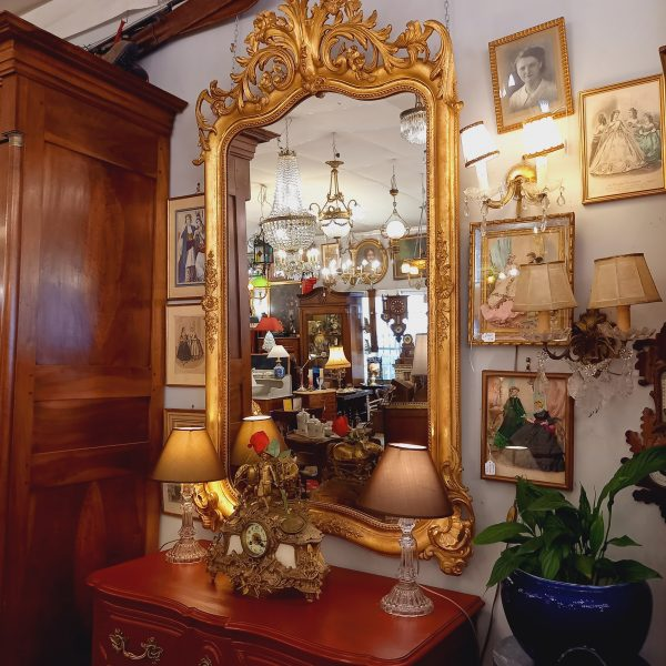 Miroir de style Louis XV, Bois doré, XIXè