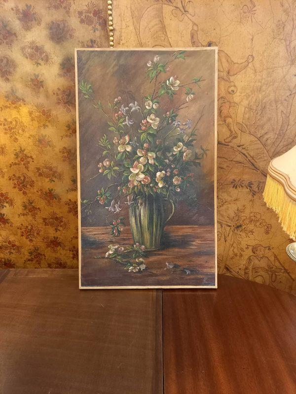 Huile sur toile, bouquet de fleurs, peinture ancienne