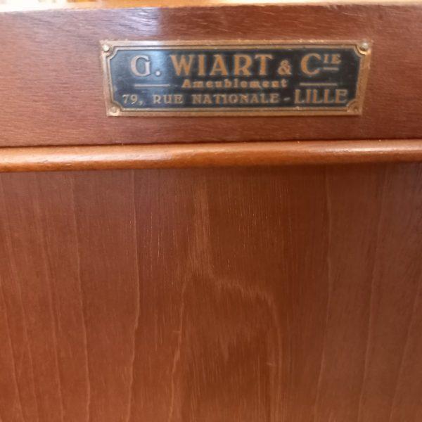 Buffet marqueté de style Transition, Plateau marbre époque 1930, Signé G.Wiart et Cie