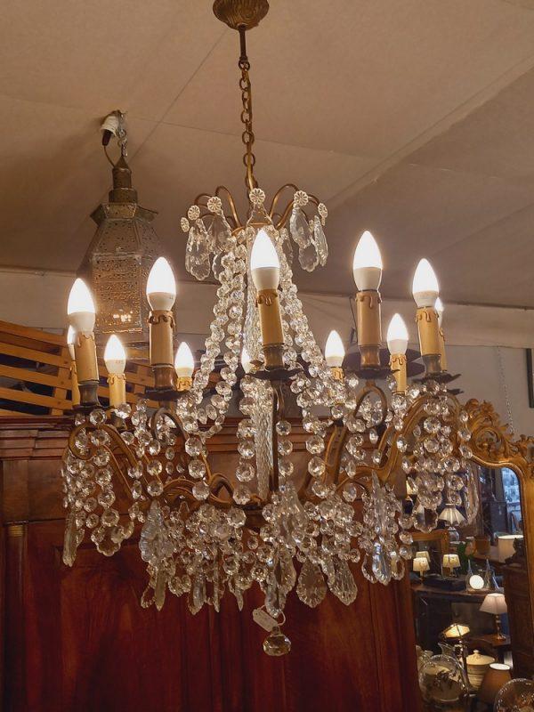 Lustre 12 Lumières, Bronze et Pampilles,époque 1900