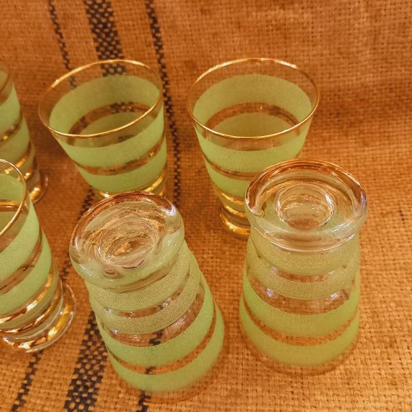 7 Verres Art-déco Vert et Doré