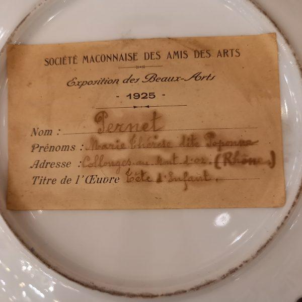 Assiette décorative faïence peinte signée Poponne