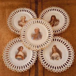 Assiettes Porcelaine de Saxe Rois et Reines