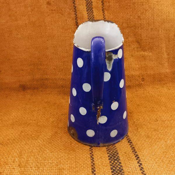 Broc émaillé Bleu de Four et Pois Blancs