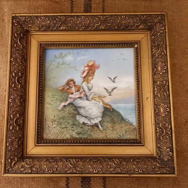 Tableau en faïence peinte, Scène galante, Couleur pastel Signé Marie-Thérèse Pernet, intitulé Directoire, Exposition des Beaux Arts, 1925