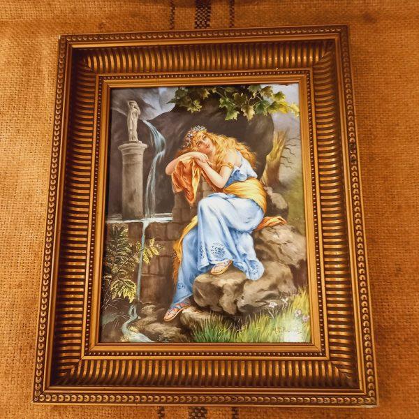Peinture sur Faïence Jeune Femme à l'Antique