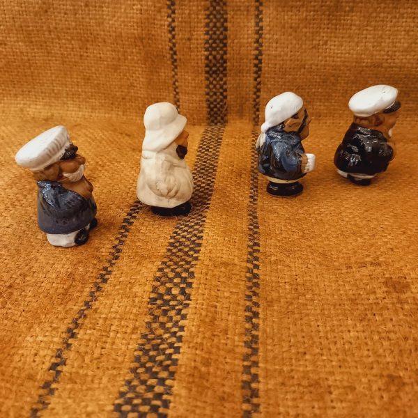 4 Petites Figurines en Terre Cuite :  Marins, Loups de Mer
