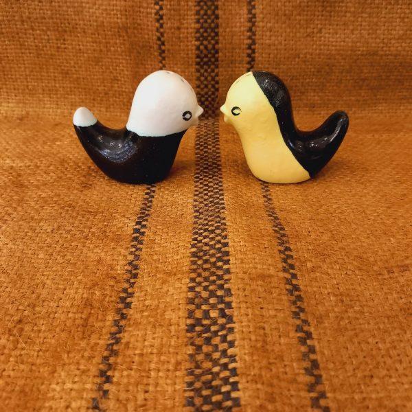 Sel et Poivre en forme d' Oiseaux Céramique Vintage des Années 50