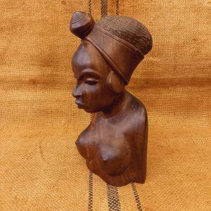 Buste de femme africaine en bois de rose Esprit Art Déco ou Ethnique 15 x 27 cm