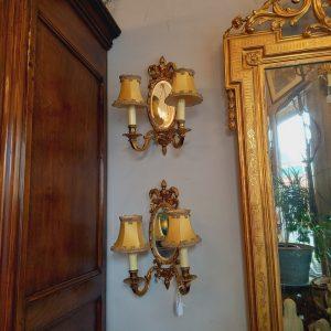 Paire d'Appliques style Louis XVI avec 1 miroir ovale (