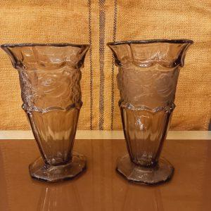 Paire de Vases Art Déco en Verre Fumé (