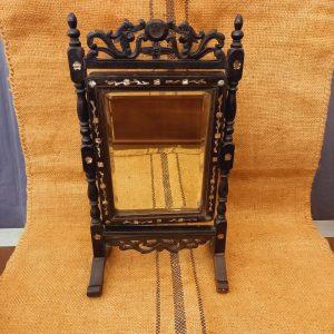 Miroir -Psyché de table, Indochine, Napoléon III,ébène, incrustation nacre, décor dragon,